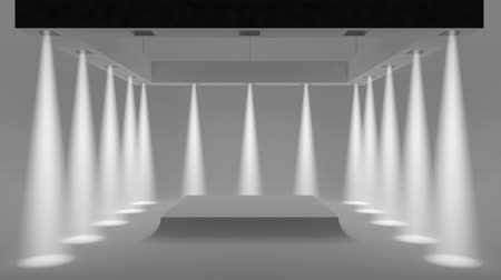 talapzat : Animation empty white Studio with spotlights on the edges and soft smooth light in the center.