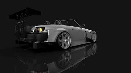 tuning : Rotating the render a tuned sports car convertible Stock Footage