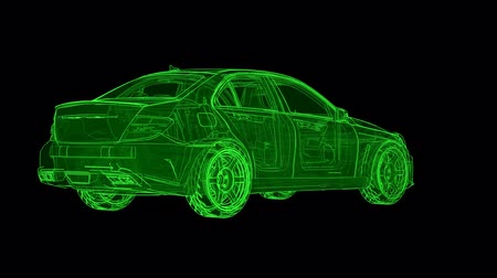 The sports sedan rotates in a circle, animation in contour lines Vídeos