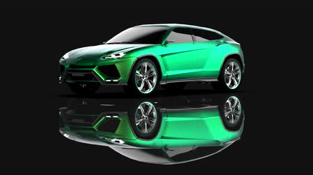 The newest sports all-wheel drive green premium crossover in a black studio with a reflective floor Vídeos