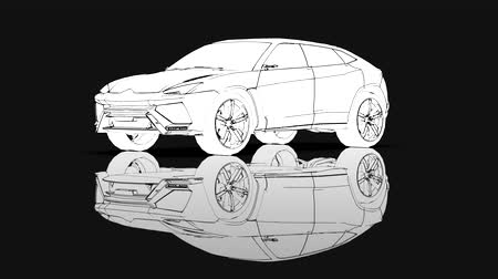 The sports suv rotates in a circle, animation in contour lines