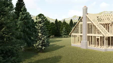 alaplap : The frame of a wooden house on a concrete foundation with a fireplace and a chimney. Unfinished object in a beautiful natural place with forest, meadow and mountains. 3d rendering.