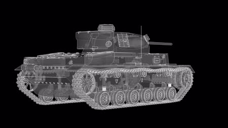 střela : The white hologram of a German world war II tank revolves around an axis. Loop video. Dostupné videozáznamy