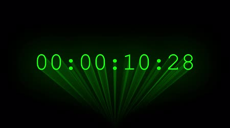 numerical code : Green 30-second timecode drawn by laser beams.