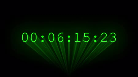 ébresztő óra : Green timecode drawn with laser beams.
