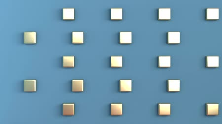 pop art background : Background three-dimensional space of blue color with gold cubes arranged in a checkerboard pattern on the back wall. 3d rendering. Stock Footage