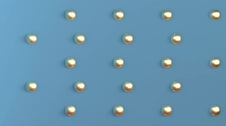 Background three-dimensional space of blue color with gold balls arranged in a checkerboard pattern on the back wall. 3d rendering.