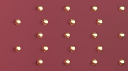 bécsi kifli : Background three-dimensional space of red color with gold balls arranged in a checkerboard pattern on the back wall. 3d rendering.