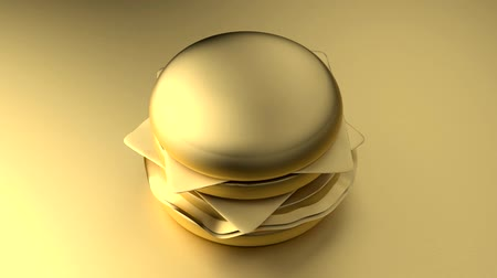 Minimal 3d gold cheeseburger on a gold background. 3d rendering.