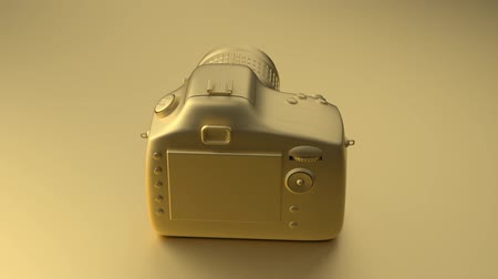 Cool professional camera revolves around its axis. All painted in one fashionable gold color. Illustration in Minimal style. 3d rendering. Vídeos