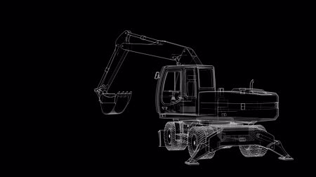 Excavator of lines and translucent parts rotates around its axis. Vídeos