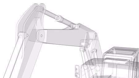 The camera moves over the excavator from lines and translucent parts. Vídeos