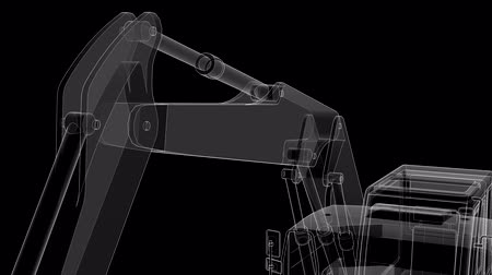 contornos : The camera moves over the excavator from lines and translucent parts. Vídeos