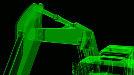 The camera moves over the excavator from lines and translucent parts. Stockvideo