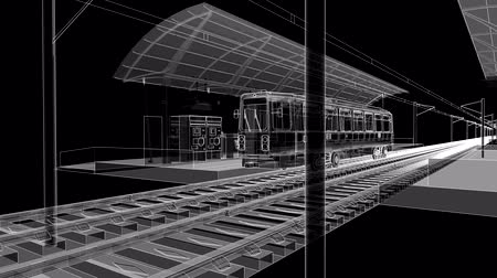 Ground station of metro, tram or railway transport. The camera moves through the entire space of the station. Vídeos