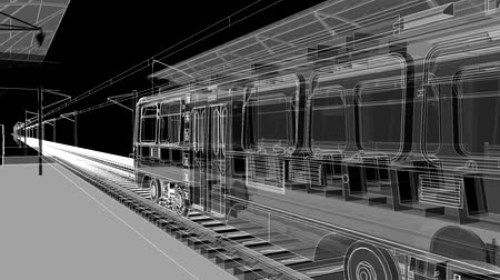 Ground station of metro, tram or railway transport. The camera moves through the entire space of the station. Stockvideo