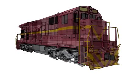Modern diesel railway locomotive with great power and strength for moving long and heavy railroad train. 3d video illustration with outline stroke lines. Vídeos
