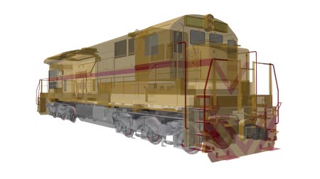 locomotiva : Modern diesel railway locomotive with great power and strength for moving long and heavy railroad train. 3d video illustration with outline stroke lines. Vídeos