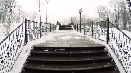ascend : Climbing the snow-covered winter stairs in the city Park. Stock Footage