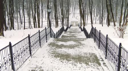 The descent of the winter snow-covered stairs in the city Park, access to the gazebo on the pond.