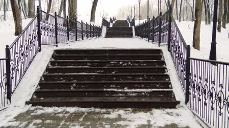 palmo : Climbing the snow-covered winter stairs in the city Park. Vídeos