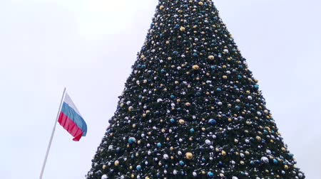Christmas decorations and entertainment. Christmas tree and the flag of Russia against the sky.