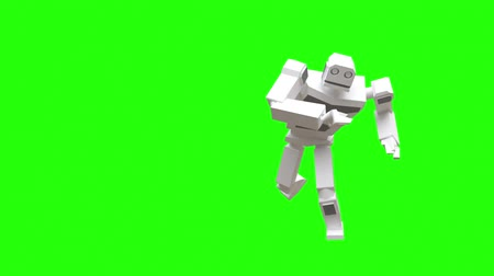 Modern robot dancing Capoeira. National Brazilian martial art-dance. The robot moves very naturally on a green background.