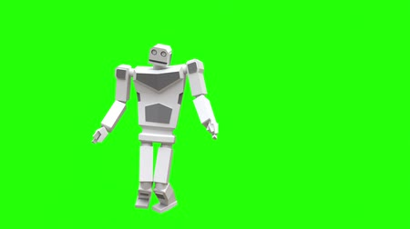 Modern robot dancing Hip-hop. The robot moves very naturally on a green background. Vídeos