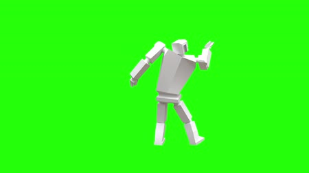 робот : Modern robot dancing Samba. Samba National Brazilian dance. The robot moves very naturally on a green background.