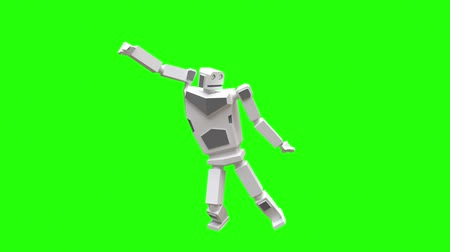 Modern robot dancing belly dance. Very natural and smooth movement of the robot on a green background.