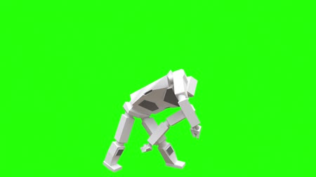 Modern robot dancing Hip-hop. The robot moves very naturally on a green background. Stockvideo