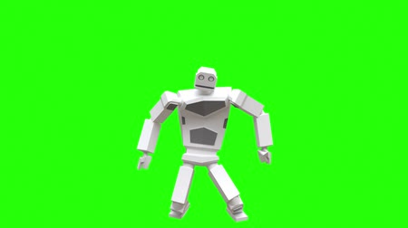 рэп : Modern robot dancing Hip-hop. The robot moves very naturally on a green background. Стоковые видеозаписи