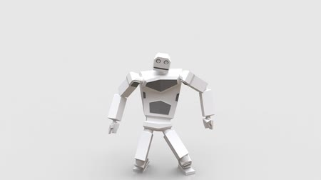 Modern robot dancing Hip-hop. The robot moves very naturally on a white background. Stockvideo