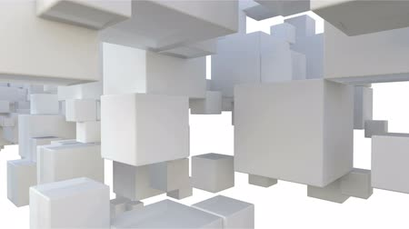 forma tridimensional : abstract architectural background with blank white cubes moving in front of camera Vídeos