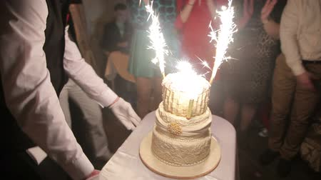 wedding cake : Wedding cake with burning fireworks Stock Footage