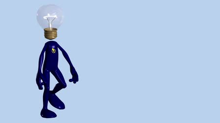 światło : Stylized cartoon figure with light bulb head walks in an upbeat, casual manner. Wideo