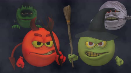 karikatury : Monsters Smiley Guys (Wicked) with Fog  --  The Smiley characters are ready for Halloween with this Monster Smiley Guys (Wicked) video with Green Screen background. The four creatures include Devil, Franky Mummy and Witch