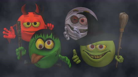 smilies : Monsters Smiley Guys (Goofy) with Fog  --  The Smiley characters are ready for Halloween with this Monster Smiley Guys (Wicked) video with Green Screen background. The four creatures include Devil, Franky Mummy and Witch