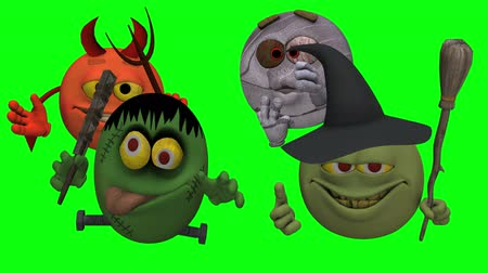 smilies : Monsters Smiley Guys (Goofy) with Green Screen  --  The Smiley characters are ready for Halloween with this Monster Smiley Guys (Wicked) video with Green Screen background. The four creatures include Devil, Franky Mummy and Witch Stock Footage