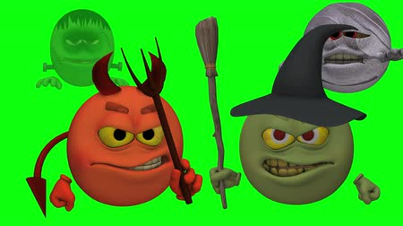 smilies : Monsters Smiley Guys (Wicked with Entrances) Green Screen  --  The Smiley characters are ready for Halloween with this Monster Smiley Guys (Wicked) video with Green Screen background. The four creatures include Devil, Franky Mummy and Witch
