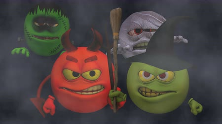 smilies : Monsters Smiley Guys (Wicked with Entrance) with Fog  --  The Smiley characters are ready for Halloween with this Monster Smiley Guys (Wicked) video with Green Screen background. The four creatures include Devil, Franky Mummy and Witch