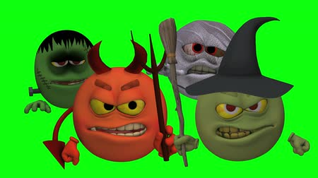 fantasie : Monsters Smiley Guys (Wicked) Green Screen - De Smiley personages zijn klaar voor Halloween met deze Monster Smiley Guys (Wicked) video met Green Screen achtergrond. De vier wezens Devil, Franky Mummy en Heks Stockvideo