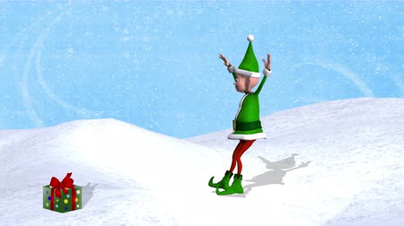 manó : Dancing Elf - Elf in green & red attire dances ballet steps ending with a jump onto a Christmas present, then a 90 degree turn & a bow to the audience as the finale. Back ground is a snowflake design & a snowbank. Elf & present have shadows. Looping. Stock mozgókép