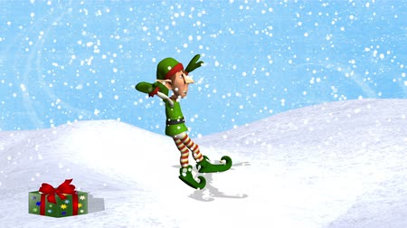 patim : Dancing Elf with Jump  --  Green & red attired elf dances ballet, jumps onto a Christmas present, turns to the audience and bows. Animation has shadow. Background is a snowy sky, a snow bank & falling snow.