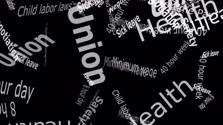 mínimo : Union Falling Words White Letters on Black Background  --  Falling words related to Unions and workers rights against a   solid color background. Stock Footage