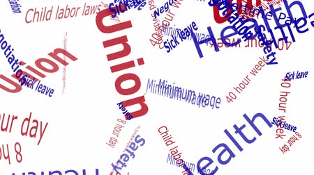 mínimo : Union Falling Words Red and Blue Letters on White Background  --  Falling words related to Unions and workers rights against a solid color background.