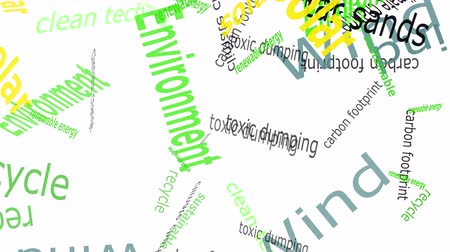 reciclagem : Falling words related to Environmental rights set against a solid color background. Vídeos