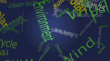 sustentável : Falling words related to Environmental rights set against a solid color background. Stock Footage