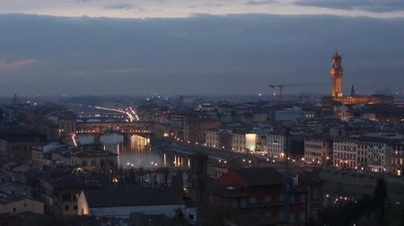 florencja : Evening  winter Florence City top view Michelangelo hill Italy, Tuscany on Arno river.
