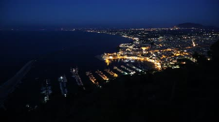 sycylia : Night view to Tyrrenian sea bay, Castellammare del Golfo town and pier from resting place Localita Belvedere Castellammare del Golfo (Trapani region, Sicily, Italy). Alcamo town in far.